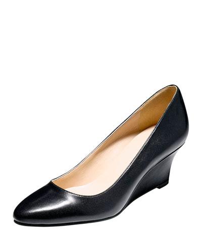 Catalina Leather Demi-Wedge, Black