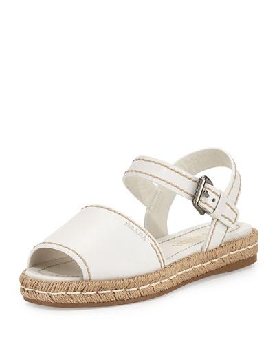 Leather Espadrille Sandal, Bianco