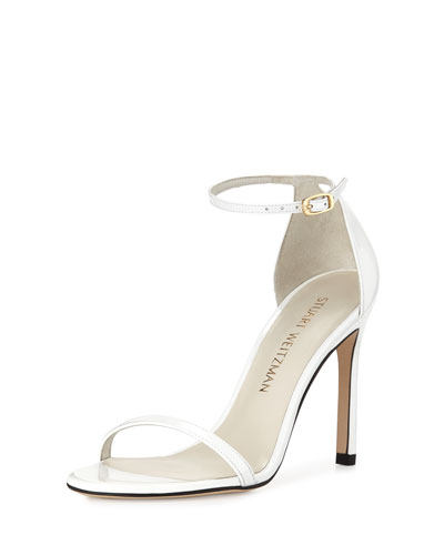 Nudistsong Patent Ankle-Strap Sandal, White