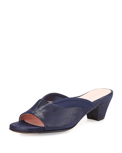 Odi Lizard-Print Stretch Mule, Medieval Blue