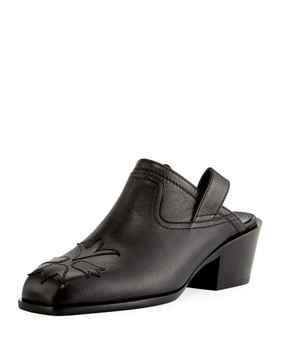 Nature Stitched Leather Pull-On Mule, Black