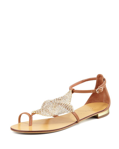 Crystal-Mesh Toe-Ring Flat Sandal