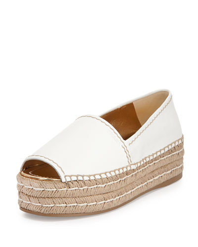 Napa Leather Platform Espadrille, Bianco