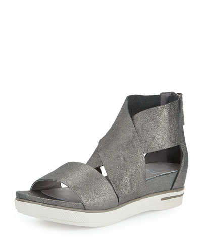 Sport Flatform Sneaker Sandal, Pewter