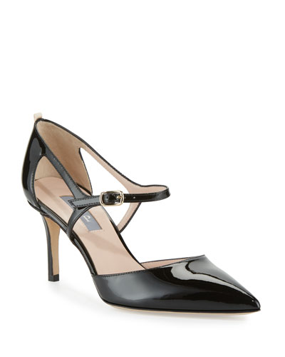 Phoebe Patent Mary Jane Pump, Black