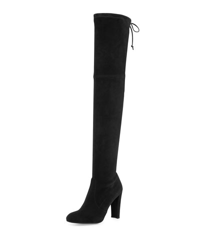 Highland Suede Over-The-Knee Boot, Black