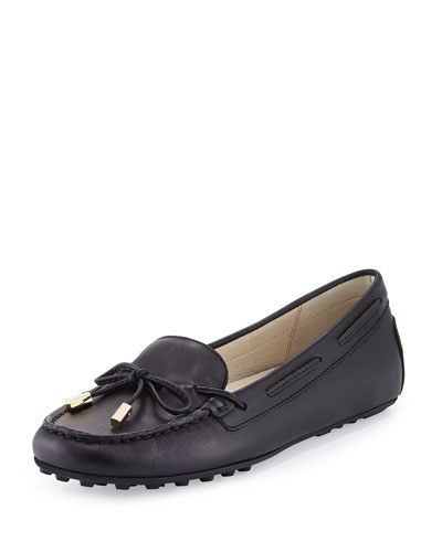 Daisy Leather Moccasin Loafer, Black