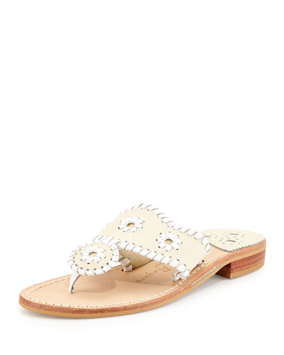 Palm Beach Whipstitch Thong Sandal, Bone/White