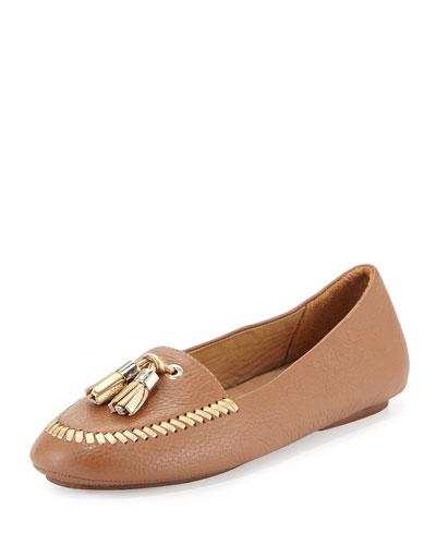 Terra Tassel Leather Loafer, Cognac/Gold