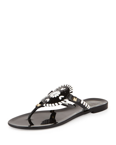 Georgica Jelly Thong Sandal, Black/White