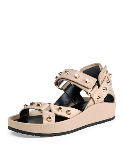 Studded Leather Flat Sandal, Ficelle