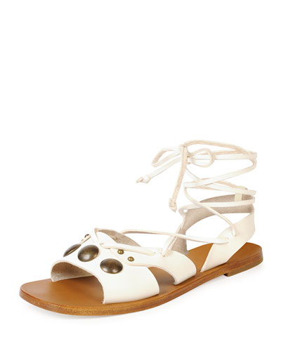 Studded Flat Leather Gladiator Sandal