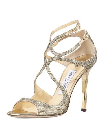 Lang Glittered Strappy Sandal, Light Bronze
