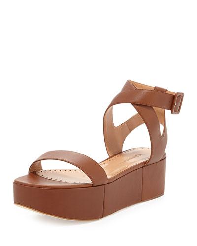 Puccia Ankle Strap Platform Wedge, Brown