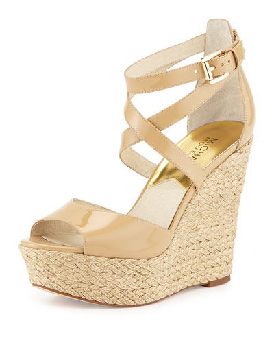 Gabriella Patent Leather Wedge Sandal, Nude