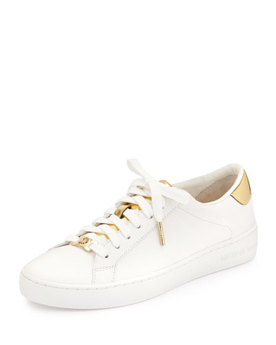 Irving Leather Lace-Up Sneaker, Optic White/Pale Gold