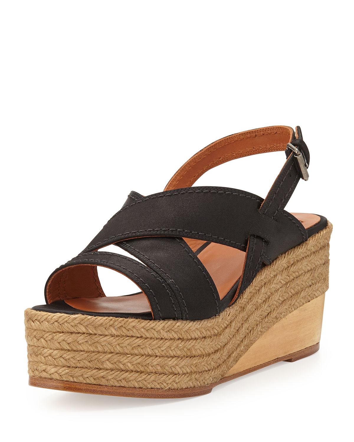 Satin Espadrille Wedge Sandals