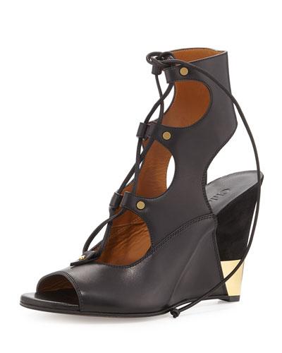 Leather Gladiator Wedge Sandal, Black