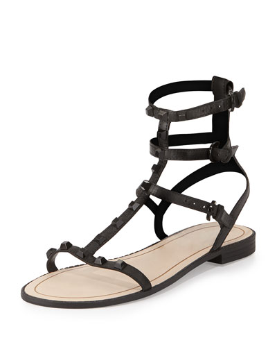 Georgina Studded Gladiator Sandal, Black