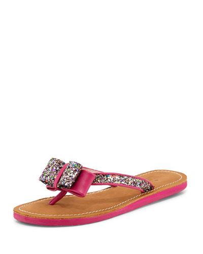 icarda glitter bow thong sandal, pink multi