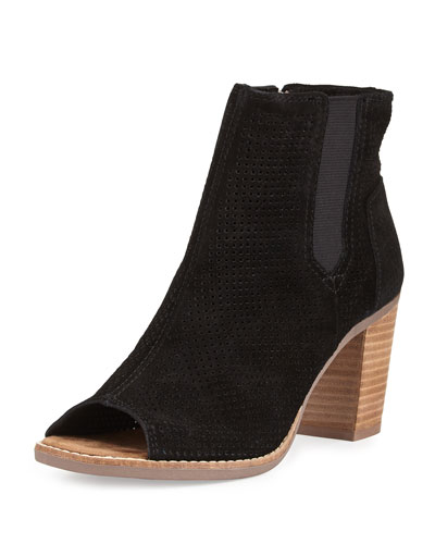 Majorca Perforated Suede Bootie, Black