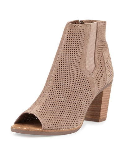 Majorca Perforated Suede Bootie, Stucco