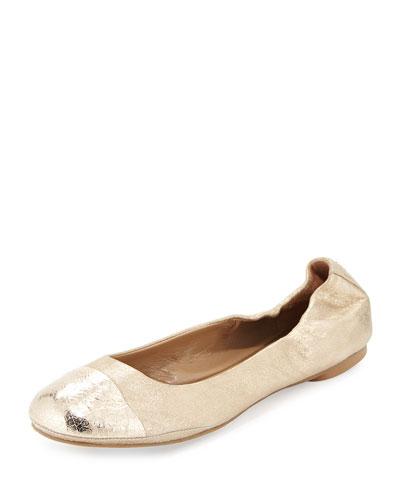 Maya Metallic Ballet Flat, Platino