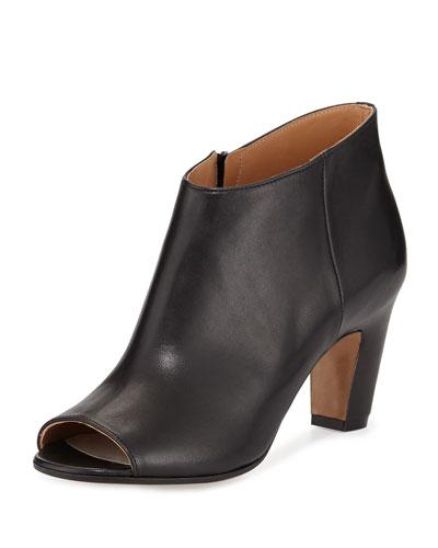 Open-Toe Leather Bootie, Black