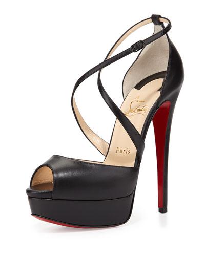 Cross Me Platform Red Sole Sandal, Black