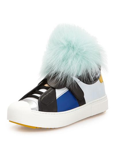 Karlito Leather Monster Sneaker, Aquamarine