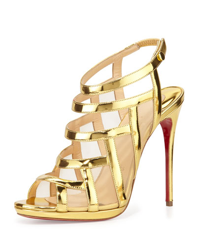 Nicole Mesh-Inset Caged Red Sole Sandal, Gold