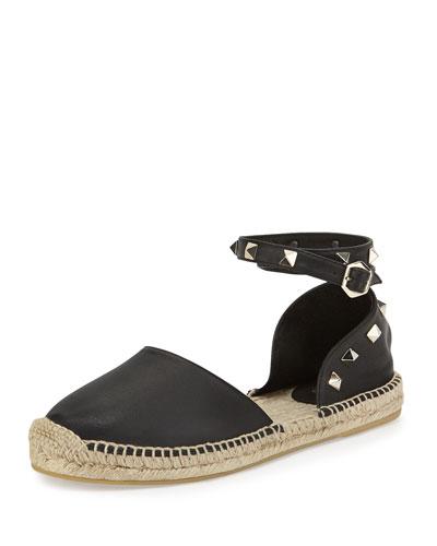 Zania Ash Leather Espadrille Flat, Black