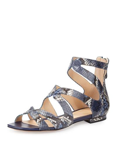 Felicie Python Caged Sandal, Iris