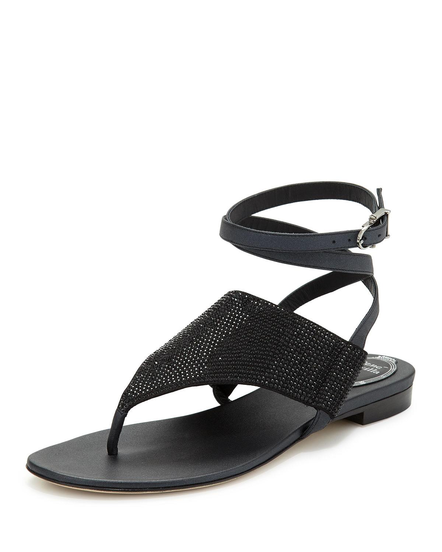 Embellished Ankle-Wrap Sandal, Black