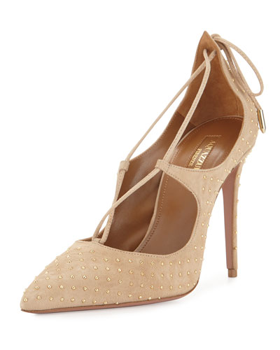 Christy Studded Lace-Up Pump, Nude