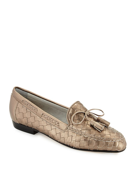 Sesto Meucci Nicole Woven Leather Loafer, Pewter