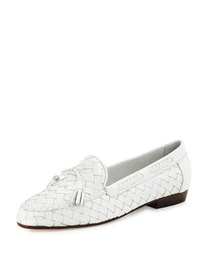 Nicole Woven Leather Loafer, White