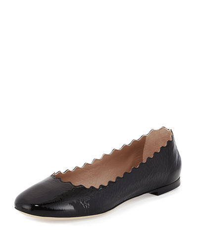Lauren Scalloped Patent Ballerina Flat Black