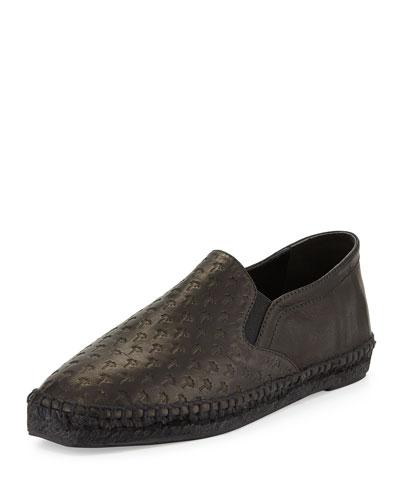 Embossed Leather Espadrille Flat, Black