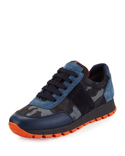 Camouflage Tech Lace-Up Sneaker, Blue (Bleu)