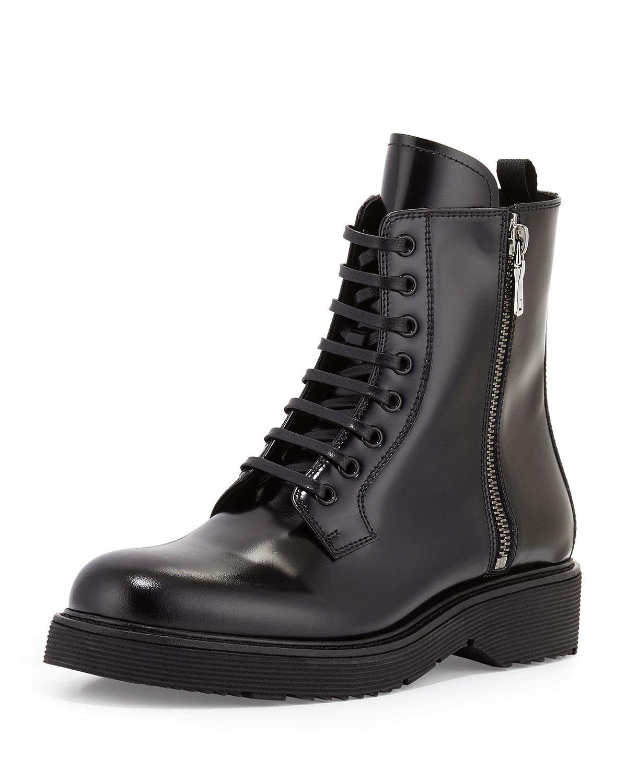 Combat Lace-Up Boot, Black (Nero)