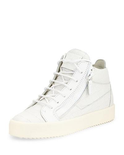 Croc-Embossed Low-Top Sneaker, White