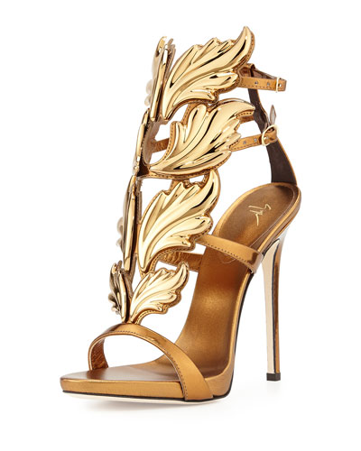 Shooting Flame Leather Sandal, Bronze