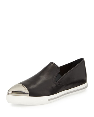 Metal Cap-Toe Loafer, Black