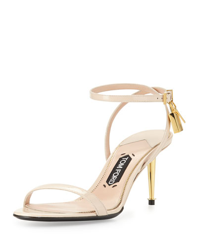 Patent Low-Heel Ankle Lock Sandal, Nude