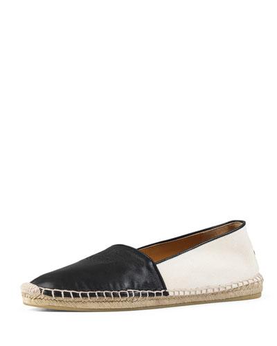 GG Leather Espadrille Flat, Black (Nero)