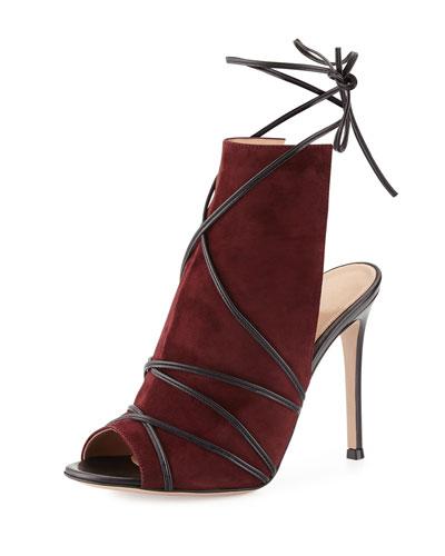 Suede Open-Toe Ankle-Tie Bootie, Royal/Black