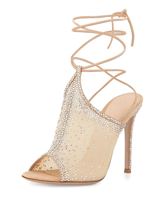 Etoile Crystal Lace-Up Sandal, Nude