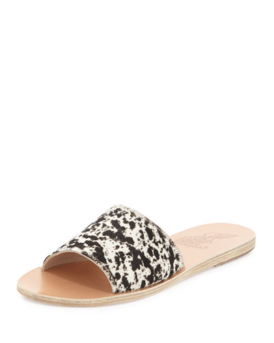 Taygete Calf-Hair Sandal Slide, Black/White