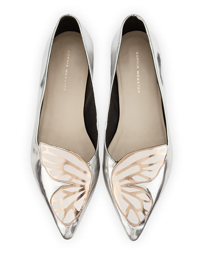 Bibi Butterfly Metallic Leather Flat